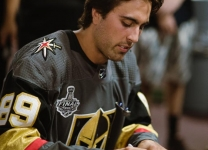Alex Tuch signs autographs at the Alex Tuch 3 on 3 Pro Hockey Game to benefit Maureen's Hope Foundation.