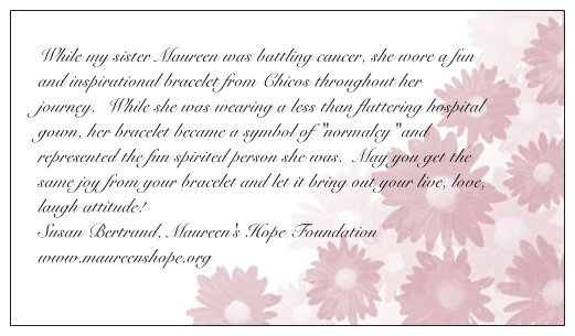 Maureen's Hope Foundation- Bracelet card